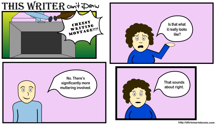 Comic. Panel one. Man and woman sit in front of a tv and watch a cheesy writing montage. Panel two. Woman asks, Is that what it really looks like? Panel three. Man answers, No. There's significantly more muttering involved. Panel four. Woman says, That sounds about right. End of comic.