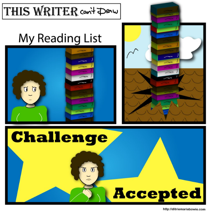 Comic. My reading list. Panel one. Woman stands next to tall stack of books. Panel two. Stack of books punctures the roof and keeps growing. Panel three. Woman clenches her fist in determination. Challenge Accepted. End of comic.