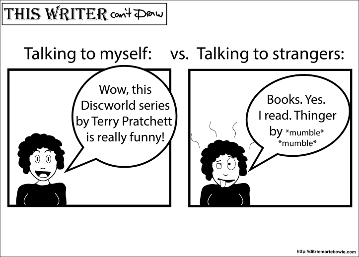 Comic. First panel is labeled: Talking to myself. Happy woman says,