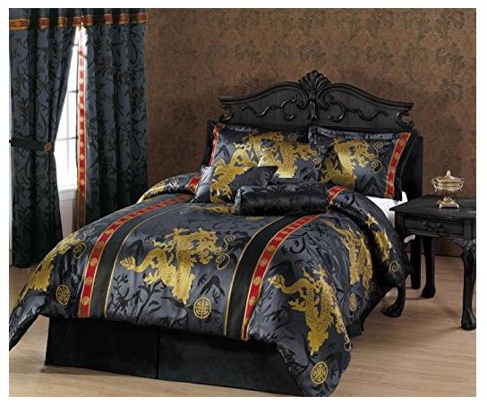 Chezmoi Collection 7-Piece Dragon Jacquard Comforter Set