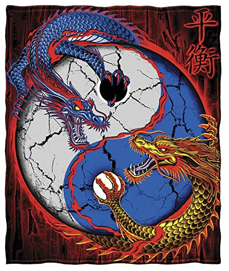 Dragon Yin Yang Fleece Throw Blanket