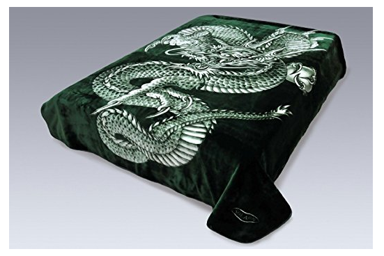 Green Dragon Korean Mink Blanket by Solaron