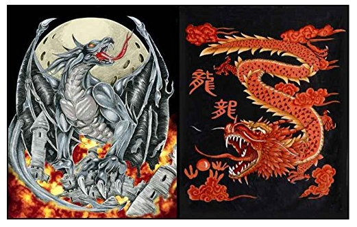 Red Dragon and Dragon of Chaos Reversible Korean Mink Blanket